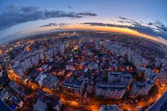 Bucharest skyline after sunset with aerial view. Bucharest skyline in the Victoria Square , aerial view , panoramic view ,city lights , night-scene, blue hour royalty free stock image