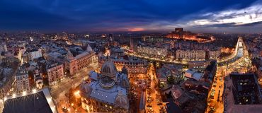 Bucharest skyline at blue hour, Dambovita river, aerial view Royalty Free Stock Photo