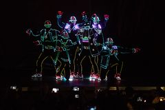 Bucharest Spotlight Festival dancers with lights Royalty Free Stock Image