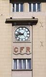 Bucharest staci kolejowej zegar Zdjęcia Stock