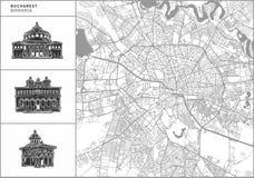 Bucharest stadsöversikt med hand-drog arkitektursymboler stock illustrationer
