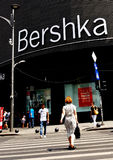 Bucharest street photography - Unirii Square - Bershka shop. Bucharest, Romania - July 20, 2017: View with pedestrian crossing from the Bershka shop located in Royalty Free Stock Image