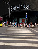 Bucharest street photography - Unirii Square - Bershka shop. Bucharest, Romania - July 20, 2017: View with pedestrian crossing from the Bershka shop located in Stock Photo