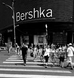 Bucharest street photography - Unirii Square - Bershka shop. Bucharest, Romania - July 20, 2017: View with pedestrian crossing from the Bershka shop located in Royalty Free Stock Photos