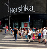 Bucharest street photography - Unirii Square - Bershka shop. Bucharest, Romania - July 20, 2017: View with pedestrian crossing from the Bershka shop located in Royalty Free Stock Photo