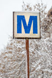 Bucharest subway sign in winter Royalty Free Stock Images