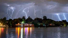 Bucharest summer lightning storm in Herastrau lake Stock Photography