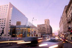Bucharest at sunset. Rush hour on Calea Victoriei boulevard in central Bucharest, Romania royalty free stock photos