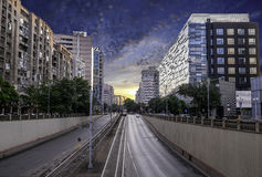 Bucharest at sunset. Bucuresti la apus royalty free stock image