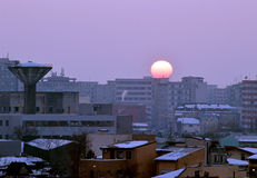 Bucharest: sunset over Rahova Royalty Free Stock Photo