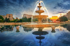 Bucharest at Sunset, Unirii Square Royalty Free Stock Images