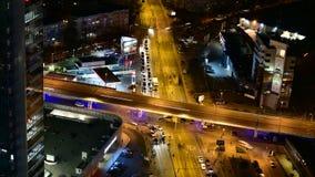 Bucharest timelapse -  Fast Traffic. Baneasa underground passage in night in Bucharest, Romania stock footage