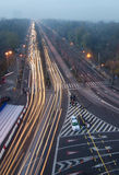 Bucharest traffic. Kiseleff Boulevard seen above the Arc de Triomphe, a long exposure photo in Bucharest, Romania Stock Image