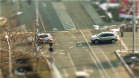 Bucharest traffic, tilt shift stock footage