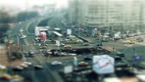 Bucharest traffic, tilt shift stock video