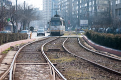 Bucharest tram transportation Stock Photo