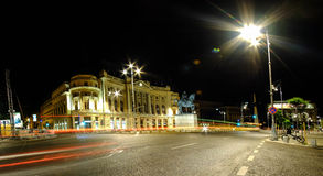 Bucharest University Library at Night. BUCHAREST, RO, MAY 2015: University Library at night stock photography