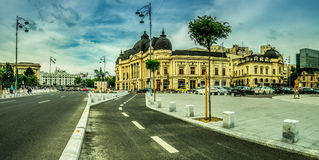 Bucharest -- University Library. BUCHAREST, RO, MAY 2015: University Library in Bucharest, Romania on a cloudy day royalty free stock photo