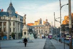 Bucharest, Romania, November 2018: Bucharest University square is the place where young people meet stock photo