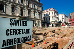 Bucharest - Urban archeology. During the renovation of the historic center, walls and cellars of the Old Court were discovered on Selari Street - near the river Royalty Free Stock Photography