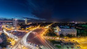 Bucharest Victoriei square center traffic night shoot. Panoramic aerial view royalty free stock photography