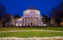 Bucharest vid natten - Athenaeum arkivbild
