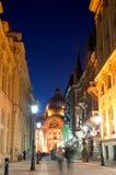 Bucharest vid natten - den historiska mitten Fotografering för Bildbyråer