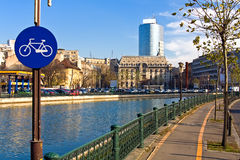 Bucharest view. View of old and new Bucharest from the bank of Dambovita River during sunny autumn day royalty free stock image