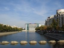 Bucharest view in autumn. National library over Dambovita river in Bucharest Royalty Free Stock Photography