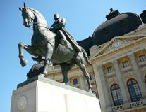 Bucharest view -Carol I statue and Central Library. The statue of Carol I, first king of Romania, is located in the centre of Bucharest, in front of the Central Stock Photos
