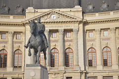 Bucharest view - Central University Library. The equestrian statue of Carol I, first king of Romania, located in front of the Central University Library, near royalty free stock photo