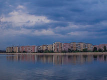 Bucharest view from ciurelu lake in a stormy cloudy day Royalty Free Stock Photography