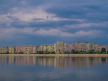 Bucharest view from ciurelu lake in a stormy cloudy day Stock Images