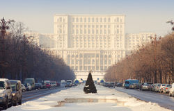 Bucharest view of Parliament building. With cars on road stock photography