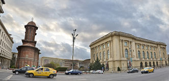 Bucharest. View of Revolution Square (Romanian: Piaţa Revoluţiei) is a square in central Bucharest, on Calea Victoriei. The square houses Kretulescu Church stock photos