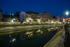 Bucharest w nocy Obrazy Royalty Free