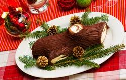 Buche de Noel tårta Royaltyfria Bilder