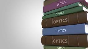 Bucheinband mit OPTIK-Titel, Wiedergabe 3D stock abbildung