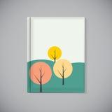 Bucheinband-Schablone mit einfachem Autumn Tree Background Vector Il Lizenzfreies Stockfoto