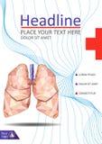 Bucheinbanddesign mit den menschlichen Lungen in niedrigem Poly Vektor Lizenzfreies Stockbild