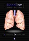 Bucheinbanddesign mit den menschlichen Lungen in niedrigem Poly Vektor Lizenzfreies Stockfoto