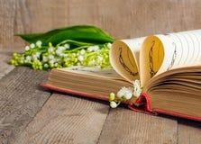 Buchen Sie die Seiten, die in ein Herz und in ein Blumenmaiglöckchen gefaltet werden Lizenzfreies Stockfoto