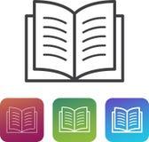 Buchen Sie einfaches Symbol/Piktogramm der Ikone mit zusätzlichen dünnen und starken Varianten stock abbildung