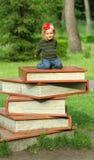 Buchen Sie Festival im Allgemeinen Park, das Kleinkindmädchen, das auf einem riesigen Stapel von Büchern sitzt lizenzfreie stockfotografie