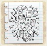 Buchen Sie Gekritzel auf Papieranmerkung, Vektorillustration Stockfotos
