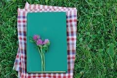 Buchen Sie mit einem Blinddeckel auf dem Gras, Draufsicht Im Freienmesswert Lizenzfreie Stockfotografie