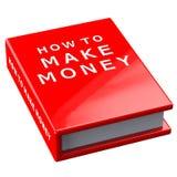 Buchen Sie, wie man Geld auf weißem Hintergrund verdient Lizenzfreie Stockfotografie