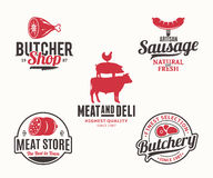 Buchery and meat products logo and design elements. Set of butchery black and red logo and design elements for grocery, food labels and meat store branding and Royalty Free Stock Image