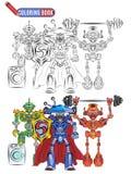 Buchfarbtonroboterausländersportler-Superhelden lizenzfreie abbildung