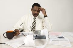 Buchhalter With Expense Receipt und Dokumente Stockfoto
